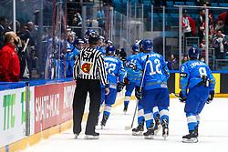 Players of Kazakhstan celebrate after scoring a goal during ice hockey match between Kazakhstan and Belarus at IIHF World Championship DIV. I Group A Kazakhstan 2019, on May 4, 2019 in Barys Arena, Nur-Sultan, Kazakhstan. Photo by Matic Klansek Velej / Sportida