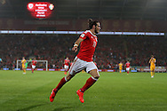 Gareth Bale of Wales celebrates after he scores his teams 3rd goal. Wales v Moldova , FIFA World Cup qualifier at the Cardiff city Stadium in Cardiff on Monday 5th Sept 2016. pic by Andrew Orchard, Andrew Orchard sports photography