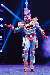 "© Licensed to London News Pictures. 11/05/2012. London, England. Mykal Rand as Electra. Andrew Lloyd Webber's rock musical ""Starlight Express"" opens at the New Wimbledon Theatre with a new cast before embarking on a UK tour. Choreography by Arlene Phillips. With Kristofer Harding as Rusty, Mykal Rand as Electra, Lothair Eaton as Poppa, Amanda Coutts as Pearl, Ruthie Stephens as Dinah, Kelsey Cobban as Duffy, Camilla Hardy as Buffy and Jamie Capewell as Greaseball. Photo credit: Bettina Strenske/LNP"