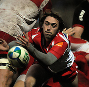 Watford, GREAT BRITAIN, Biarritz, Julien DUPUY, spins the ball out from the back of the scrum, during the Pool 4 Rd 5  Heineken Cup game Saracens vs Biarittz at Vicarage Road, Hert's  12/01/2008  [Photo, Peter Spurrier/Intersport-images]