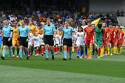 November 24, 2017 - Melbourne, Victoria, Australia - Referee SANDRA STRUB, Assistant Referees BELINDA BREM, SUSANNE KÃœNG, and Fourth Official ESTHER STAUBLI lead the teams onto the field for an international friendly match between the Australian Matildas and China PR at GMHBA Stadium in Geelong, Australia. (Credit Image: © Sydney Low via ZUMA Wire)