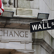 Wall Street and the New York Stock Exchange,  Downtown Financial District, Manhattan, New York City, USA. 16th September 2014. Photo Tim Clayton