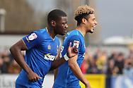 AFC Wimbledon striker Lyle Taylor (33) smiling after scoring penalty to make it 1-0 during the EFL Sky Bet League 1 match between AFC Wimbledon and Oxford United at the Cherry Red Records Stadium, Kingston, England on 10 March 2018. Picture by Matthew Redman.