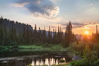 Sunrise seen from Reflection Lake. Mount Rainier National Park Washington