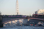 Banners were dropped on bridges crossing the Thames in protest against the inauguration of Donald Trump, January 21st 2017 in London.  A banner on Lambeth Bridge. On Friday 20th January over 50 groups across the United Kingdom dropped banners from bridges as an act of defiance against Trump's inauguration. The groups, who form the 'Bridges not Walls' movement, staged their demonstration to show support for people in the USA and beyond fearing the consequences of Trump's election. <br /> <br /> In London ten iconic bridges on the Thames saw huge banners 25m long unfurled on them.