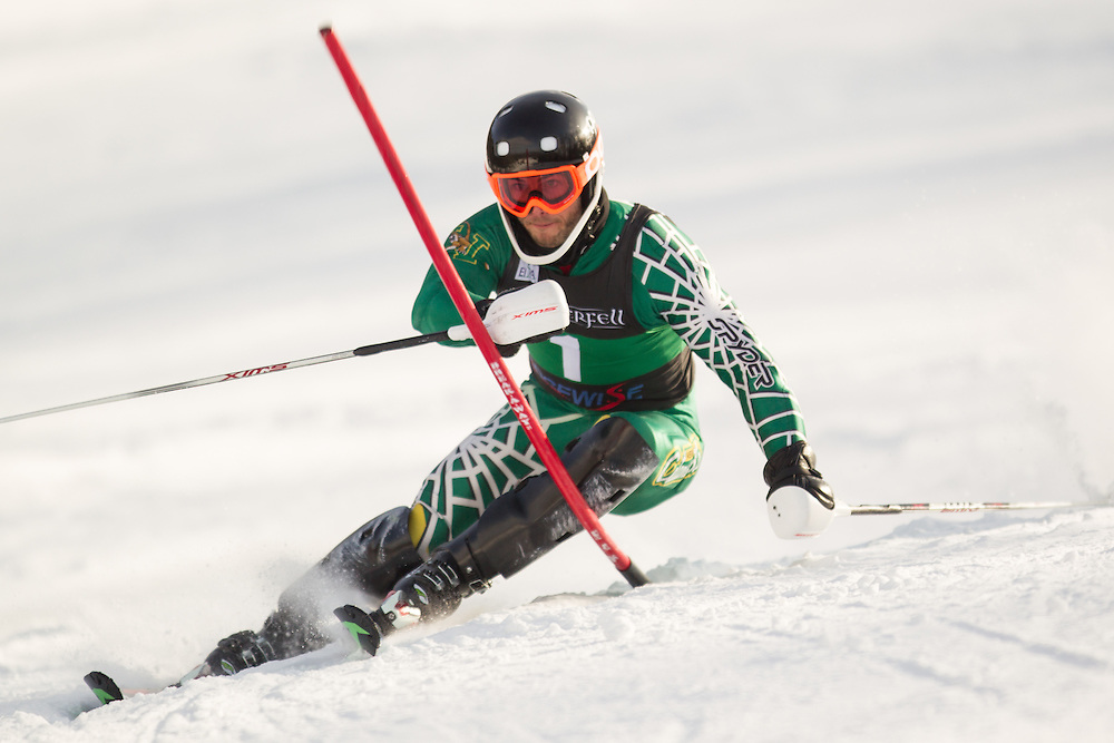 Travis Dawson of the University of Vermont, skis during the second  run of the men's slalom at the University of Vermont Carnival at Burke Mountain on January 26, 2014 in East Burke, VT. (Dustin Satloff/EISA)