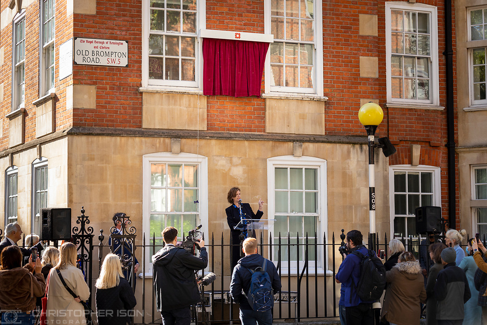 Virginia Clarke speaking at Coleherne Court.<br /> Diana, Princess of Wales has today been honoured with an English Heritage London blue plaque. Unveiled by Diana's former flatmate Virginia Clarke, the plaque marks Coleherne Court on the Old Brompton Road, where Diana lived at Flat 60 at the time of her engagement to the Prince of Wales in 1981. Diana described her time at Coleherne Court as one of the happiest of her life and it was from this flat that she took her first steps onto the world stage. The princess, who would have turned 60 this year, used her huge, international profile to speak out on humanitarian issues and raise awareness of charitable causes.<br /> Picture date Wednesday 29th September, 2021.<br /> Picture by Christopher Ison. Contact +447544 044177 chris@christopherison.com