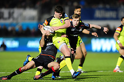 Freddie Burns of Leicester Tigers takes on the Saracens defence - Mandatory byline: Patrick Khachfe/JMP - 07966 386802 - 05/02/2017 - RUGBY UNION - Allianz Park - London, England - Saracens v Leicester Tigers - Anglo-Welsh Cup.