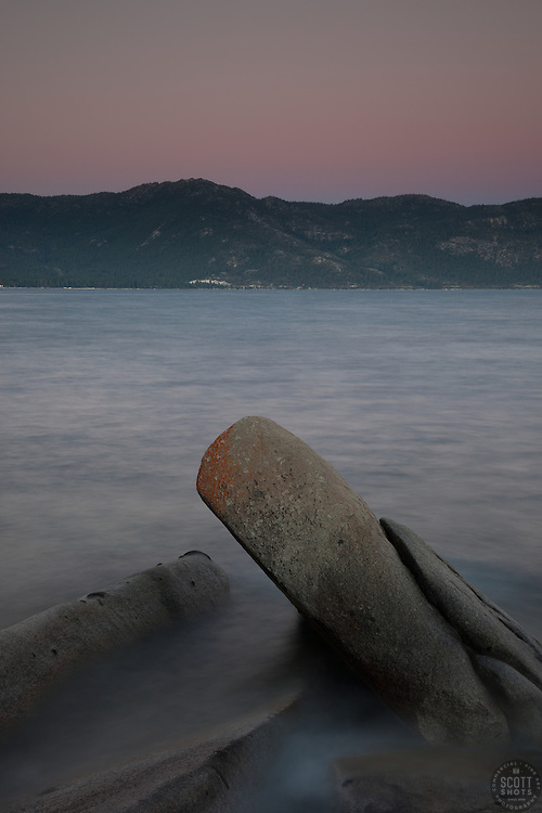"""""""Tahoe Boulders at Sunset 3"""" - These boulders and sunset were photographed at Crystal Point in Crystal Bay, Lake Tahoe."""