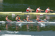 2004 FISA World Cup Regatta Lucerne Switzerland. USA M4-. Bow Jason READ, Daniel BEERY, Beau HOOPMAN and Bryan VOLPENHEIN. 18.06.04..Photo Peter Spurrier Rowing Course, Lake Rottsee, Lucerne, SWITZERLAND. [Mandatory Credit: Peter Spurrier: Intersport Images]