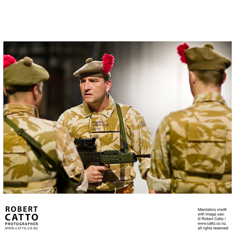 Actor Michael Nardone plays the dual roles of the Writer / the Sargeant in the National Theatre of Scotland production of Black Watch, seen here at the New Zealand International Arts Festival 2008 in Wellington.