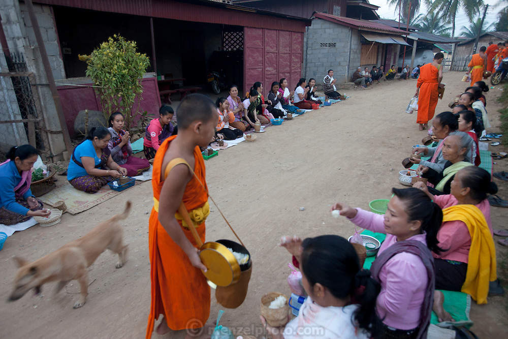 """Ban Saylom Village, just South of Luang Prabang, Laos. Every morning at dawn, barefoot Buddhist monks and novices in orange robes walk down the streets collecting food alms from devout, kneeling Buddhists. They then return to their temples (also known as """"wats"""") and eat together. This procession is called Tak Bat, or Making Merit. ."""