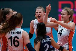 Elles Dambrink of Netherlands, Jolien Knollema of Netherlands celebrate during United States - Netherlands, FIVB U20 Women's World Championship on July 15, 2021 in Rotterdam