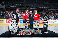 KELOWNA, CANADA - JANUARY 10: Madison Bowey #4 and Josh Morrissey #27 of Kelowna Rockets stand with President and General Manager Bruce Hamilton at the start of the game against the Medicine Hat Tigers on January 10, 2015 at Prospera Place in Kelowna, British Columbia, Canada. The three were gold medalists at the 2015 IIHF World Junior Hockey Championships.  (Photo by Marissa Baecker/Shoot the Breeze)  *** Local Caption *** Bruce Hamilton; Josh Morrissey; Madison Bowey;