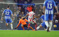 Football - 2017 / 2018 Premier League - Brighton & Hove Albion vs. Stoke City<br /> <br /> Maxim Choupo - Moting of Stoke gets the opening goal putting the ball past Mathew Ryan, at The Amex.<br /> <br /> COLORSPORT/ANDREW COWIE