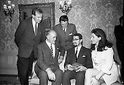 """17/07/1967<br /> 07/17/1967<br /> 17 July 1967<br /> """"Silver Bear"""" award presentation at Iveagh House by Mr. Aiken to Mr. Louis Marcus. The award was won by the film Fleá Cheoil at the Berlin International Film Festival, directed by Louis Marcus.  Image shows (l-r): Brendan Ó heather, who wrote the commentary; An Tánaiste Frank Aiken; Críostoir Curran, who read the commentary; Louis Marcus, director of the film and Dolly McMahon who sang in the film."""