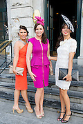 Sarah Jane MacLaverty, Oranmore, Nicola Mooney, Headford rd. Galway, Trish O'Sullivan, Shantalla, Galway at the Hotel Meyrick Most Stylish Lady event on ladies day of The Galway Races. Photo:Andrew Downes