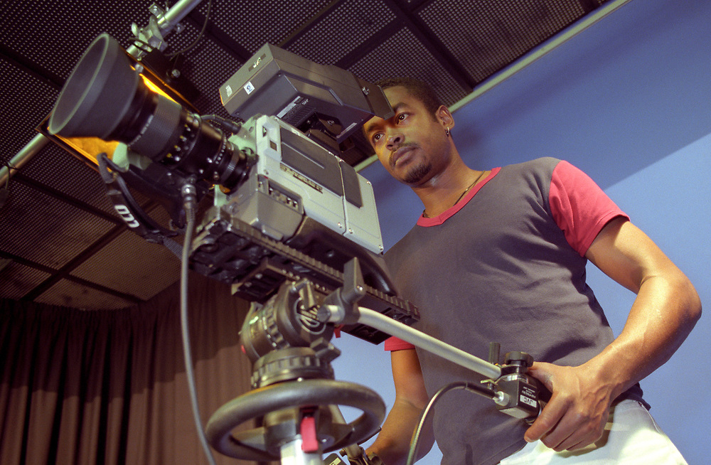 Students on a tv film course at college UK