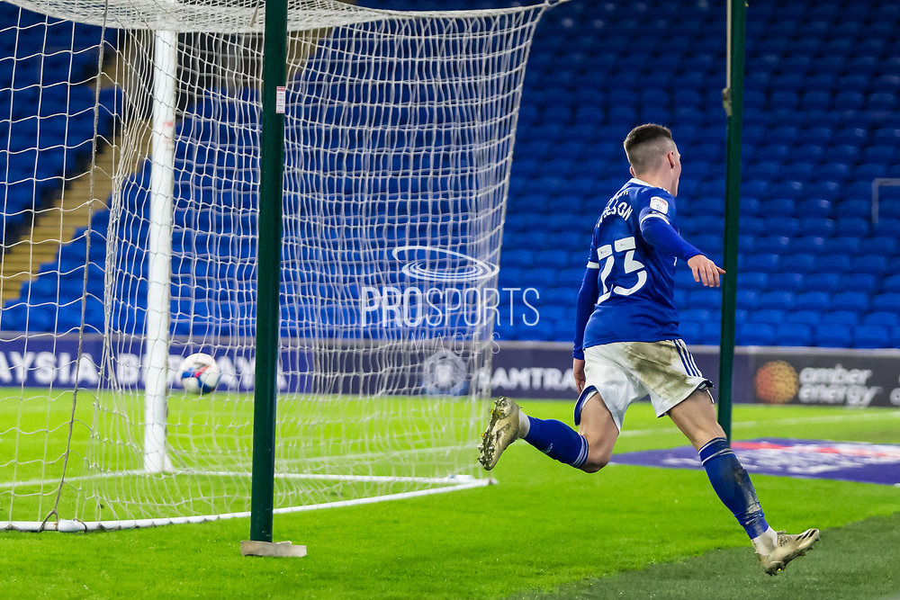 GOAL 2-2 Cardiff City's Harry Wilson (23) turns away after scoring the equalising goal during the EFL Sky Bet Championship match between Cardiff City and Birmingham City at the Cardiff City Stadium, Cardiff, Wales on 16 December 2020.