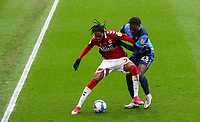 Middlesbrough's Djed Spence holds off the challenge from Wycombe Wanderers' Fred Onyedinma<br /> <br /> Photographer Alex Dodd/CameraSport<br /> <br /> The EFL Sky Bet Championship - Middlesbrough v Wycombe Wanderers - Saturday 8th May 2021 - Riverside Stadium - Middlesbrough<br /> <br /> World Copyright © 2021 CameraSport. All rights reserved. 43 Linden Ave. Countesthorpe. Leicester. England. LE8 5PG - Tel: +44 (0) 116 277 4147 - admin@camerasport.com - www.camerasport.com