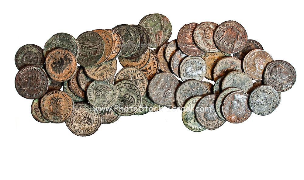 55 late roman bronze coins 3rd - 4th century CE