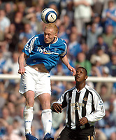 Photo: Leigh Quinnell.<br /> Birmingham City v Newcastle United. The Barclays Premiership. 29/04/2006. Birminghams Mikael Forssell rises high for the ball.