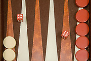 Backgammon board game the dice has rolled a six six