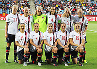 Fotball , EM , Norge - Danmark 25.juli 2013 , kvinner ,  Sverige , Norrköping , europamesterskap , semifinale<br /> Ada Stolsmo Hegerberg<br /> Solveig Gulbrandsen<br /> Ingrid Hjelmseth<br /> Ingvild Stensland<br /> Marit Fiane Christensen<br /> Caroline Graham Hansen<br /> Toril Hetland Akerhaugen<br /> Trine Rønning<br /> Maren Mjelde<br /> Kristine Hegland <br /> Ingvild Isaksen<br /> <br /> Foto: Ole Marius Fjalsett