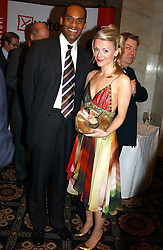 """MR ADAM AFRIYIE and MISS TRACY MALTHOUSE at the Vote No Dinner -The dinner is the first stage in building a """"£5m war chest for the campaign for a No vote in the forthcoming referendum on the constitution, held at the Savoy Hotel, London on 16th November 2004.<br /><br />NON EXCLUSIVE - WORLD RIGHTS"""