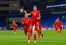 CARDIFF, WALES - Wednesday, November 18, 2020: Wales' Daniel James jumps as he celebrates after scoring the second goal during the UEFA Nations League Group Stage League B Group 4 match between Wales and Finland at the Cardiff City Stadium. Wales won 3-1 and finished top of Group 4, winning promotion to League A. (Pic by David Rawcliffe/Propaganda)