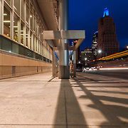 Downtown Kansas City scene from outside of KC Convention Center at nightfall.