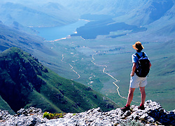 Walker admiring view in the mountains above Franschhoek (Credit Image: © Axiom/ZUMApress.com)