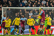 Fabian Balbuena (West Ham) & Sokratis (Arsenal) heading the ball during the Premier League match between West Ham United and Arsenal at the London Stadium, London, England on 9 December 2019.