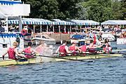 Henley-on-Thames. United Kingdom.  2017 Henley Royal Regatta, Henley Reach, River Thames. <br /> Oxford Brookes celebrate winning the Temple Challenge Cup.<br /> <br /> 12:31:20  Sunday  02/07/2017<br /> <br /> [Mandatory Credit. Intersport Images}.
