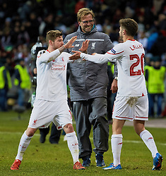 KAZAN, RUSSIA - Thursday, November 5, 2015: Liverpool's manager Jürgen Klopp celebrates with Alberto Moreno and Adam Lallana after the 1-0 victory over Rubin Kazan during the UEFA Europa League Group Stage Group B match at the Kazan Arena. (Pic by Oleg Nikishin/Propaganda)