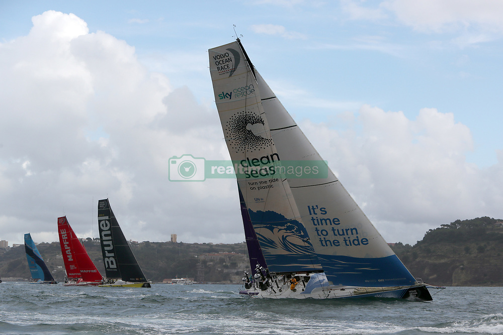 November 3, 2017 - Lisbon, Portugal - (R-L) Turn the Tide on Plastic team captained by Britain Dee Caffari, Team Brunel captained by Dutch Bouwe Bekking, MAPFRE team captained by Spanish Xabi Fernandez and Vestas 11th Hour Racing team captained by American Charlie Enright in action during the Volvo Ocean Race 2017-2018 In-port Race at the Tagus River in Lisbon, Portugal on November 3, 2017. Team Brunel won the in-port race. (Credit Image: © Pedro Fiuza/NurPhoto via ZUMA Press)