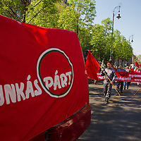 Supporters of the Hungarian Communist Party march together celebrating Labour Day on Heroes Square in Budapest, Hungary on May 01, 2012. ATTILA VOLGYI