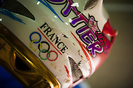Magalie Pottier's helmet took a beating during a fall at the UCI BMX Supercross World Cup in Manchester, UK