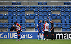 Cohen Bramall of Colchester United is booked - Mandatory by-line: Arron Gent/JMP - 03/10/2020 - FOOTBALL - JobServe Community Stadium - Colchester, England - Colchester United v Oldham Athletic - Sky Bet League Two