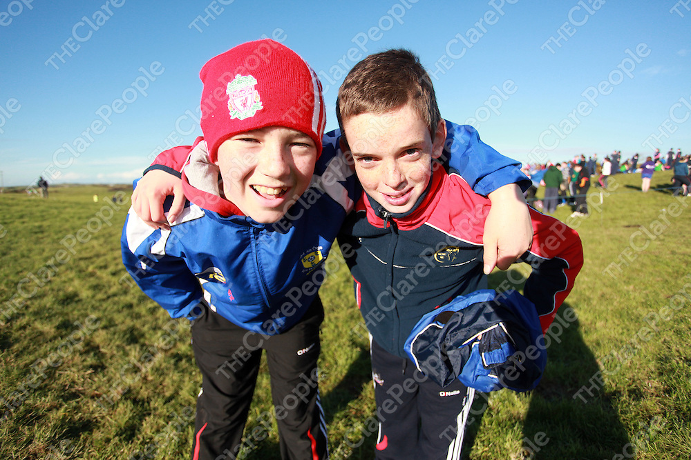 Conor Downes and Mikey Tubridy at the schools cross country finals in Mullagh on Friday.<br /> Photograph by Yvonne Vaughan