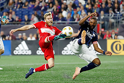 September 22, 2018 - Foxborough, MA, U.S. - FOXBOROUGH, MA - SEPTEMBER 22: Chicago Fire forward Michael de Leeuw (8) gets a shot away past New England Revolution defender Andrew Farrell (2) during a match between the New England Revolution and the Chicago Fire on September 22, 2018, at Gillette Stadium in Foxborough, Massachusetts. The teams played to a 2-2 draw. (Photo by Fred Kfoury III/Icon Sportswire) (Credit Image: © Fred Kfoury Iii/Icon SMI via ZUMA Press)