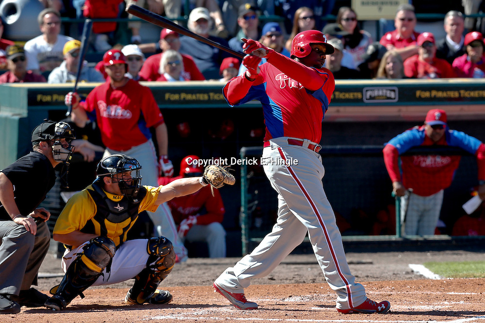 Mar 4, 2013; Bradenton, FL, USA; Philadelphia Phillies first baseman Ryan Howard (6) flies out against the Pittsburgh Pirates during the top of the fifth inning of a spring training game at McKechnie Field. Mandatory Credit: Derick E. Hingle-USA TODAY Sports