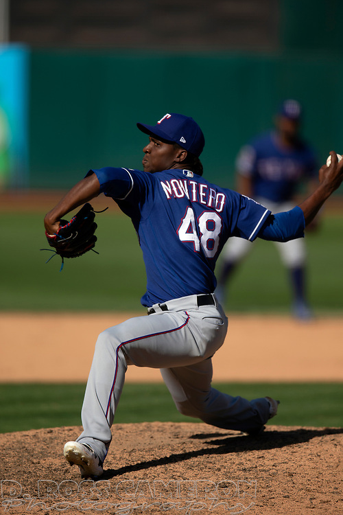 Texas Rangers pitcher Rafael Montero (48) delivers against the Oakland Athletics during the eighth inning of a baseball game, Sunday, Sept. 22, 2019, in Oakland, Calif. (AP Photo/D. Ross Cameron)
