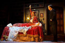 Blithe Spirit <br /> <br /> Noël Coward's classic comedy <br /> Blithe Spirit at The Duke of York's Theatre, London, Great Britain <br /> 6th March 2020 <br /> Press photocall <br /> directed by Sir Richard Eyre<br /> <br /> Opens on 10th March 2020 to 11th April 2020 <br /> <br /> Jennifer Saunders as Madame Arcati <br /> Geoffrey Streatfeild as Charles<br /> Emma Naomi as Elvira<br /> <br /> Photograph by Elliott Franks