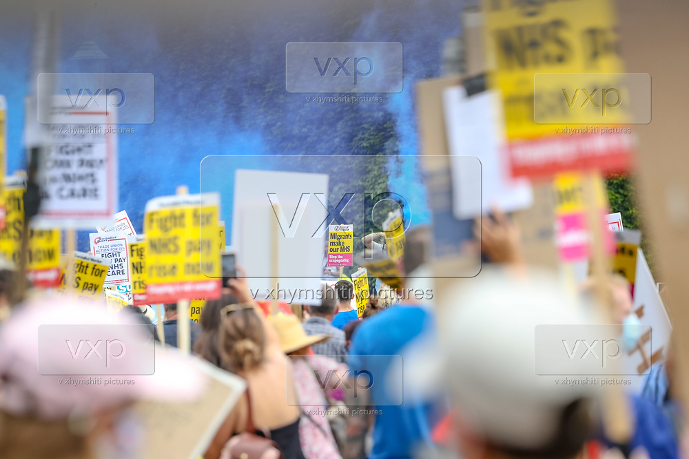 """NHS (National Health Service) workers gathered in St James's Park, London, on Saturday, Aug 8, 2020, to protest over a pay rise. <br /> Grassroot NHS workers are angry after they were left out of plans to give almost a million public sector workers an above-inflation increase. Marches planned on Saturday morning in Cardiff, Swansea, Merthyr and Bridgend are part of a UK-wide protest. Ministers say they were working with unions to ensure the """"best possible"""" pay package for all health workers. (VXP Photo/ Vudi Xhymshiti)"""