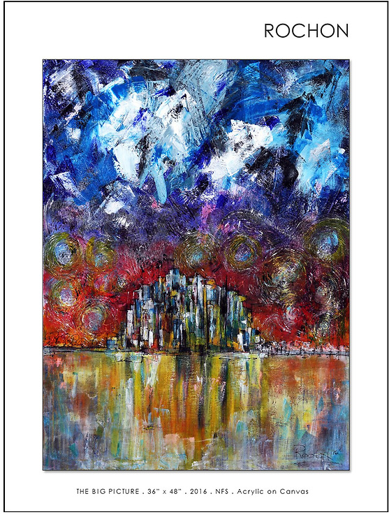'THE BIG PICTURE' <br /> Not for Sale and Will Never Be for Sale! WHY?<br /> <br /> It is quite literally, the story of my life. As paintings often do, they may start, innocently enough going in a direction, say a landscape, and months later, direct you into a whole new world of unwelcome self discovery - in this case 'The Big Picture!'<br /> <br /> This painting revisited a painful life of unrecognized mental illness, Bipolar Disorder and clinical depression, which manifested into a painful lifetime of alcohol, drug, food and work addictions. <br /> <br /> For the pictorial and unedited version, check out my bio. It's quite a ride and explains a great deal about my paintings.<br /> (http://louierochon.blogspot.com).