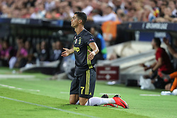 September 19, 2018 - Valencia, Spain - Cristiano Ronaldo of Juventus FC reacts during the UEFA Champions League, Group H football match between Valencia CF and Juventus FC on September 19, 2018 at Mestalla stadium in Valencia, Spain (Credit Image: © Manuel Blondeau via ZUMA Wire)
