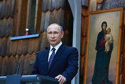 © Licensed to London News Pictures. 30/07/2016. Vrsic, Slovenia. 100th memorial ceremony at the Russian Chapel. The Russian Chapel was built in 1916 in memory of more than 200 Russian prisoners of war who were killed in an avalanche while building a military road pass over the Vrsic during World War One.. Photo: Marko Vanovsek/LNP