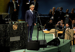 Andrea Bocelli sings at the start of the United Nations General Assembly at UN headquarters, September 20, 2016 in New York City, NY, USA. According to the UN Secretary-General Ban ki-Moon, the most pressing matter to be discussed at the General Assembly is the world's refugee crisis. Photo by Dennis Van Tine/ABACAPRESS.COM