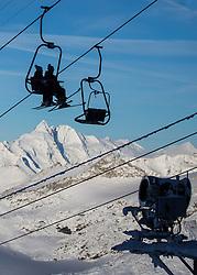 """TEMENBILD - Mölltaler Gletscher ist der Name für ein Skigebiet in Österreich, Kärnten, in der Nähe von Flattach. Das Skigebiet ist im Besitz der Schultz Gruppe. Das Skigebiet dient in den Sommer und Herbstmonaten als T Trainingstätte für den Internationalen Ski Zirkus. Aufgenommen am 17.10.2012. Hier im Bild Sesseln des Gipfellift zum Schareck (3.122m) """"Sesselbahn 3000"""" mit Großglockner (3.798m) im Hintergrund // THEME IMAGE FEATURE - Moelltal Glacier is the name of a ski resort in Austria, Carinthia, near Flattach. The resort is owned by the Schultz group. The ski area is in the summer and autumn months as T training venue for the International Ski Circus. The image was taken on october, 17th, 2012. Picture shows the Chairs of the Summit lift to Schareck (3.122m) """"Sesselbahn 3000"""" with Grossglockner (3,798 m) in the background. EXPA Pictures © 2012, PhotoCredit: EXPA/ J. Groder"""